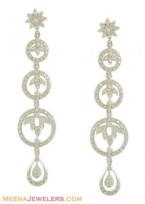 18Kt White Gold Designer Earring ( Long Earrings )