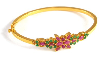 Gold bangle with Emerald and Ruby ( Precious Stone Bangles )
