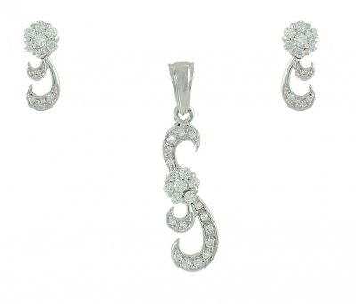 18Kt White Gold Pendant Set ( White Gold Pendant Sets )
