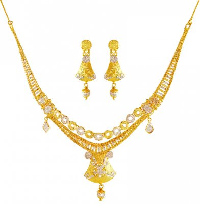 22k two tone necklace Set  ( Light Sets )