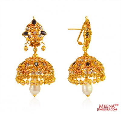 Precious Stones Jhumki 22 Kt Gold ( Exquisite Earrings )