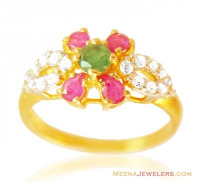 Exclusive Stones 22k Ring ( Ladies Rings with Precious Stones )