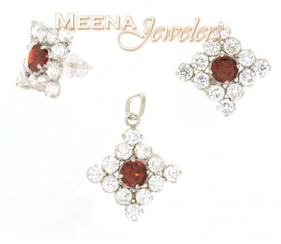 22k Gold Pendant and Earrings Set with CZ and Garnet ( White Gold Pendant Sets )