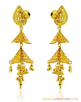 Fancy 22K Chandelier Earrings ( 22Kt Gold Fancy Earrings )