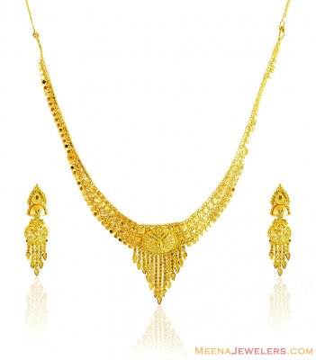 22k Fancy Necklace Earring Set ( 22 Kt Gold Sets )