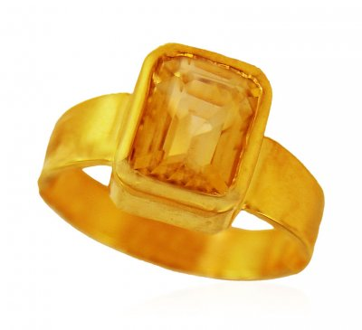 22kt Gold Yellow Topaz Ring ( Astrological BirthStone Rings )