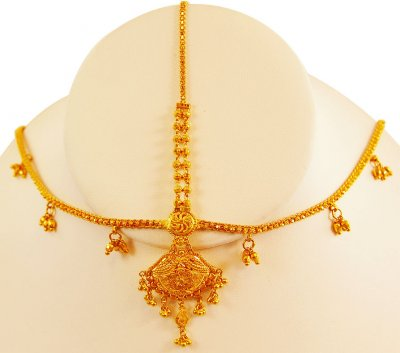 22K Gold Matha Patti With Tikka ( Gold Tikka )