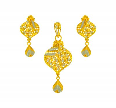 22Kt Gold 2 Tone Pendant Set ( Gold Pendant Sets )