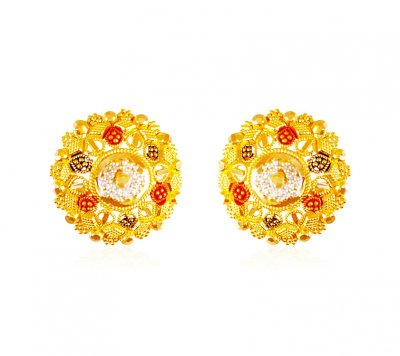 22kt Gold Three Tone Earrings ( 22 Kt Gold Tops )