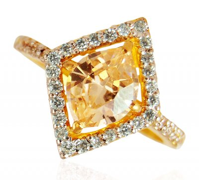 22Kt  Gold  Topaz  Ring ( Ladies Rings with Precious Stones )