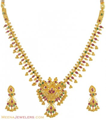 22k Gold Stones Set(Ruby, Emerald) ( Combination Necklace Set )