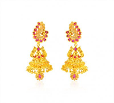22Kt Gold Designer Earrings ( 22Kt Gold Fancy Earrings )
