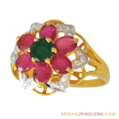 22K Beautiful Precious Stone Ring ( Ladies Rings with Precious Stones )