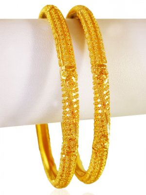 22kt Gold Pipe Style Bangles (2pcs) ( Gold Bangles )