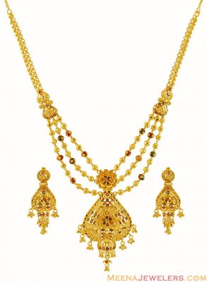 Gold Meenakari Necklace Set ( 22 Kt Gold Sets )