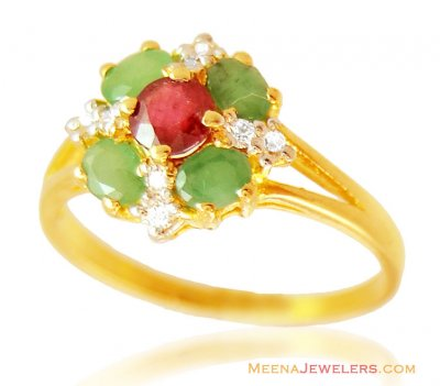 Fancy Stones 22k Ring ( Ladies Rings with Precious Stones )