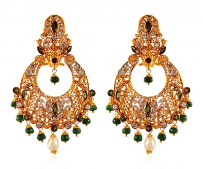 22K Chand Bali with Emeralds  ( Exquisite Earrings )