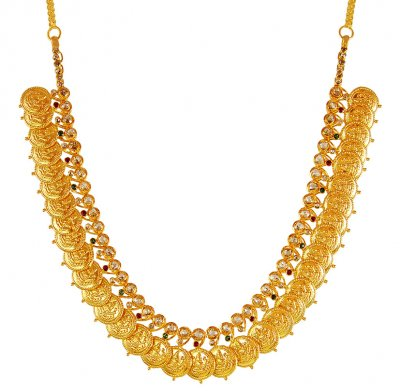 22k Uncut Diamond Kasu Necklace ( Diamond Necklace Sets )