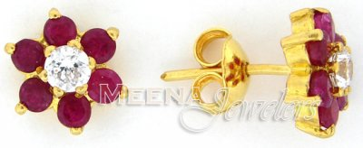 22 Kt Gold Ruby Earrings with CZ ( Precious Stone Earrings )