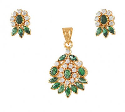 22Kt Gold Pendant Set With Emerald n Cz  ( Precious Stone Pendant Sets )