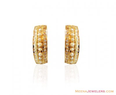 Designer Cz Pearl Clip Ons 22k ( Precious Stone Earrings )