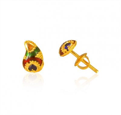 22Kt Gold Earrings (Meenakari) ( 22 Kt Gold Tops )