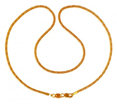 22K Gold Flat Rhodium  Chain ( Plain Gold Chains )