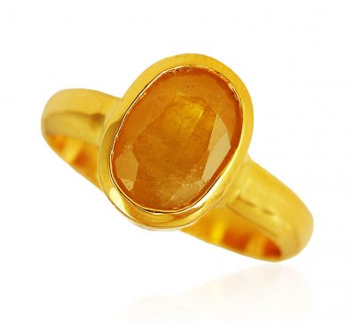 22kt Gold Ring With Pokraj ( Ladies Rings with Precious Stones )