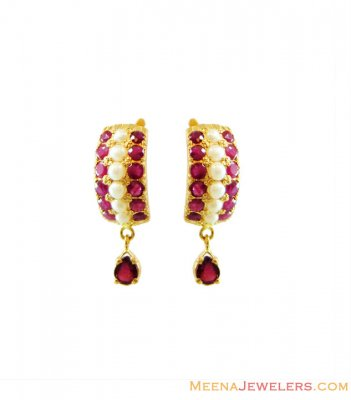 Gold Ruby and Pearl Earrings ( Precious Stone Earrings )