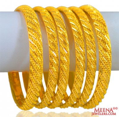 22 Kt Gold Bangles Set 6pcs ( Set of Bangles )
