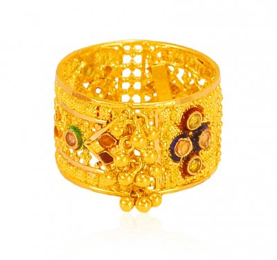 22k Yellow Gold Filigree Band  ( Ladies Gold Ring )