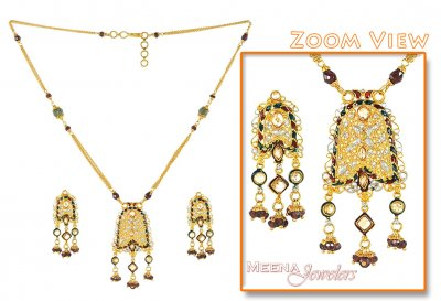 Antique Gold Necklace with MeenaKari ( Antique Necklace Sets )