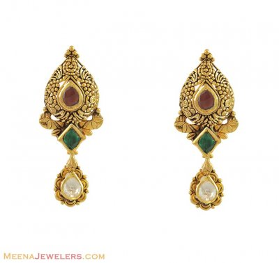 22k Antique Kundan Earrings ( 22Kt Gold Fancy Earrings )
