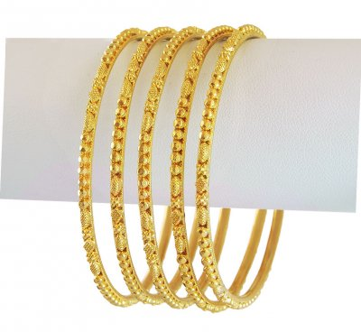 22k Gold Filigree Bangles (5 Pcs) ( Set of Bangles )