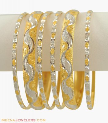 Gold Two Tone Bangles Set (22Kt) ( Set of Bangles )