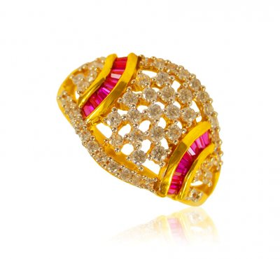 22 kt Gold Ring with Colored Stones ( Ladies Signity Rings )