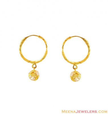 22k Gold Ball Hoops Earrings ( Hoop Earrings )