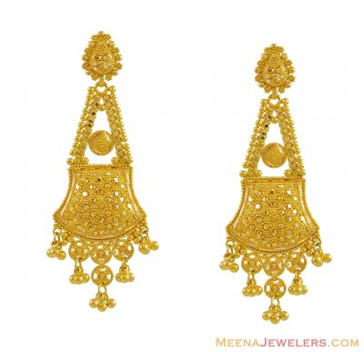 22k Gold Filigree Earrings ( Long Earrings )