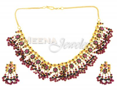 22 Kt Gold Ruby And Sapphire Set ( Combination Necklace Set )