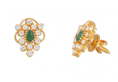 Gold Earrings with CZ and emerald  ( Precious Stone Earrings )