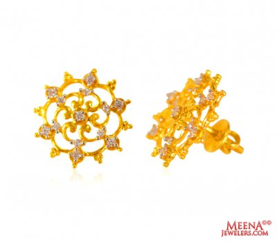 22 Karat Fancy Gold Tops with CZ  ( Signity Earrings )
