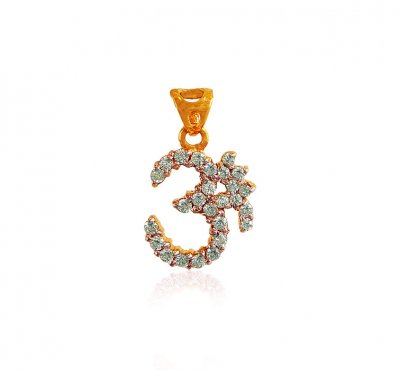 22k Gold Pendant With CZ ( Om Pendants )