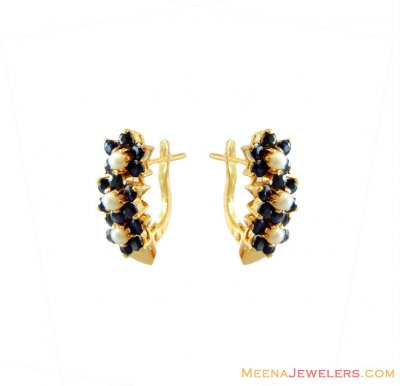 Gold Pearls and Sapphire Earring ( Precious Stone Earrings )