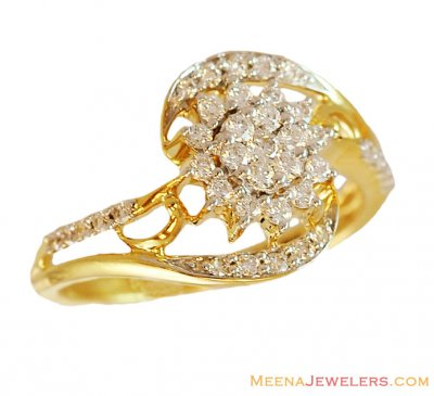 Floral Shaped Diamond Ring 18K Gold ( Diamond Rings )