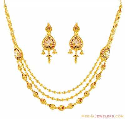 22k Three Tone Layered Necklace Set ( 22 Kt Gold Sets )