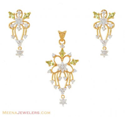 Gold Signity pendant set ( Fancy Pendant Set )