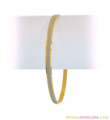 22K Gold And Rhodium Bangles (1 Pc) ( Gold Bangles )
