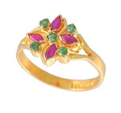 22k Gold Ring with Emerald and Ruby ( Ladies Rings with Precious Stones )