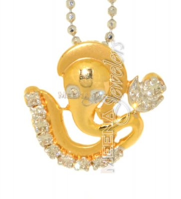 18Kt Gold Lord Ganesh OM Diamond Pendant ( Diamond Pendants )