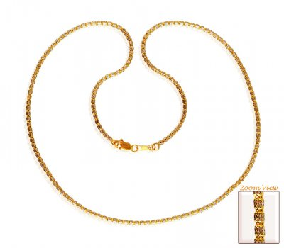 22Kt Gold Two Tone Chain 20In ( 22Kt Gold Fancy Chains )
